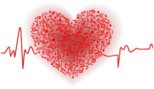 Heart Musical Notes Pulse Red